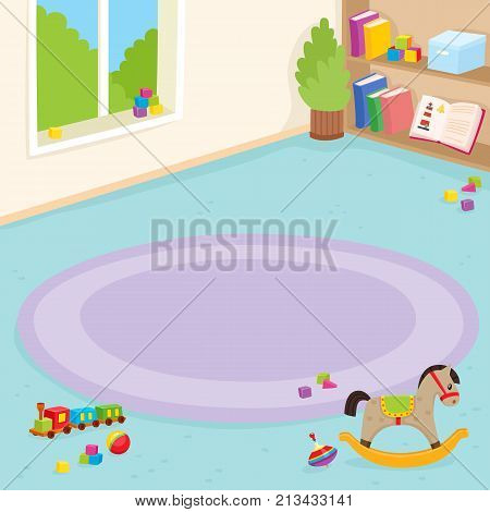 Kindergarten room, playroom interior, window, bookcase, carpet, toys, cartoon vector illustration. Kindergarten playroom interior, corner carpet, shelves with books and toys, plant and window