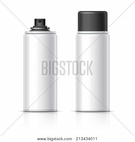 Realistic Shaving Foam Aerosol. Cosmetics bottle can Spray Deodorant Air Freshener. With lid. Object shadow and reflection on separate layers. Vector illustration