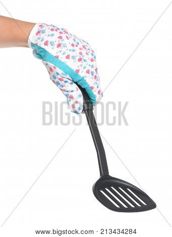Kitchen utensil in woman hand isolated over white background