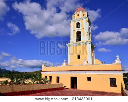 Tower of the San Francisco de Asis Church being by the main square in Trinidad the most tourist city on Cuba