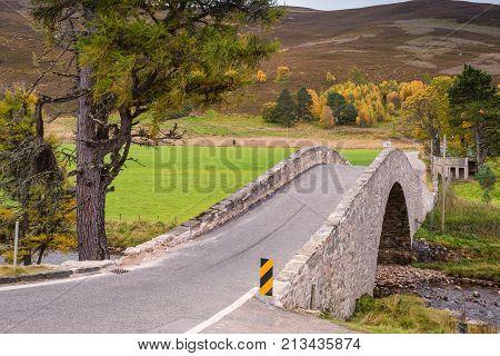 Snow Road over Gairnshiel Bridge, or Old Military Road which is a scenic drive through the Cairngorms National Park, it crosses the River Gairn on Gairnshiel Bridge