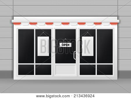 Realistic Detailed 3d Exterior of Restaurant, Cafe or Shop Doors Front Entrance. Vector illustration of Door and Wall