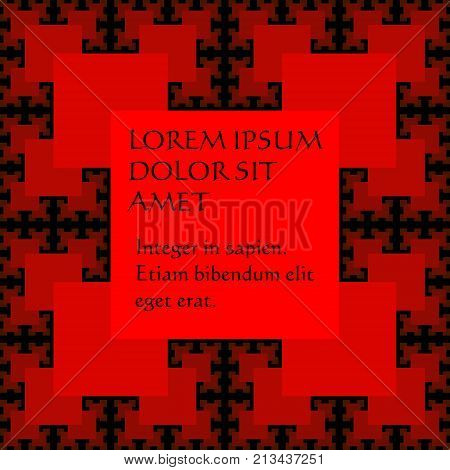 Sguare significant background, template in Sierpinski fractal style with repeating squares, 3d illusion, red elements on black background, vector EPS 10