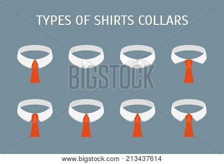 Cartoon Male Shirt Collars Different Types Icons Set on a Grey Background Flat Design Style. Vector illustration of Collar Type
