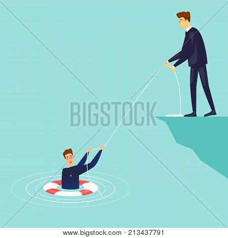 Businessman saves the drowning man. Flat design vector illustration.