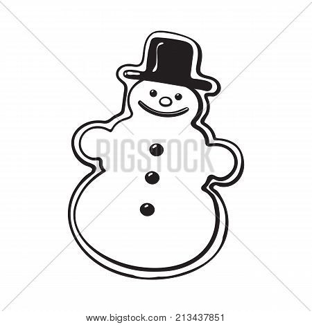 Glazed snowman-shaped homemade Christmas gingerbread cookie, sketch style vector illustration isolated on white background. black and white gingerbread cookie in shape of funny snowman