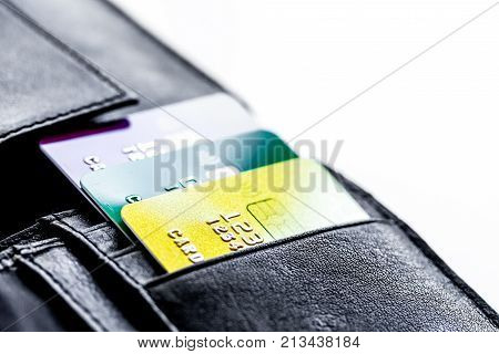 Credit cards with wallet close up - online shopping on white background