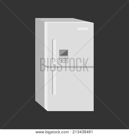 A white double-chambered modern refrigerator icon. On a black background. Vector illustration.