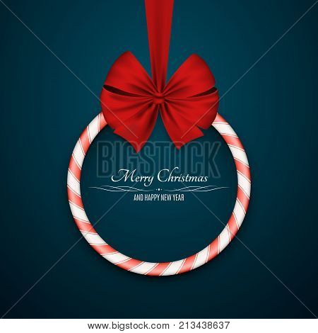 Christmas sugar sweet red lollipop with red realistic ribbon on a dark blue background. Round banner. Sweet gift. Happy New Year. White text. Vector illustration