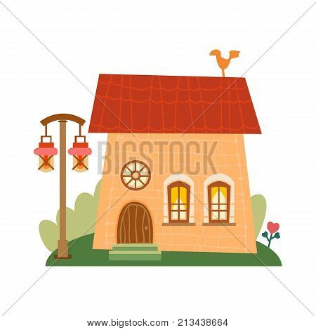 One of set of cute cartoon houses in childlike style. Sweet home. Lovely background with a cozy house