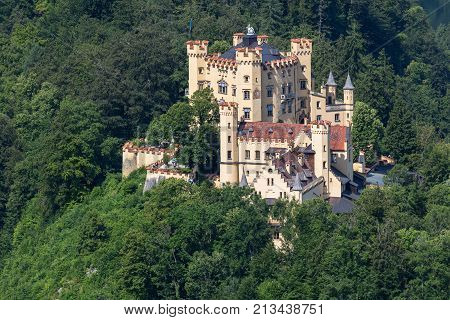 Hohenschwangau castle in Germany. Famous travel location in Germany