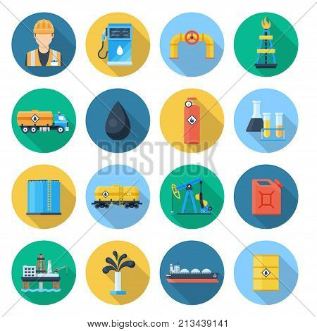 Oil and gas industry set. Petroleum industry and natural gas fields exploration, drilling, refining, and processing. Vector flat style cartoon illustration isolated on white background