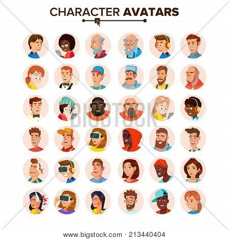 People Avatars Collection Vector. Default Characters Avatar. Cartoon