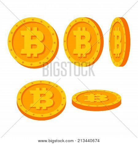 Bitcoin Gold Coins Vector Set. Flat, Cartoon. Flip Different Angles. Digital Currency Money. Investment Concept Illustration. Cryptography Finance Coin, Sign. Fintech Blockchain. Currency