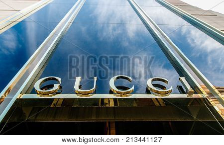 Boston October 28 2017: The sign above the entrance to a Gucci store in central Boston.