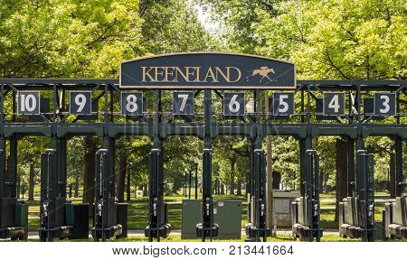 Lexington, Kentucky, USA - May 27, 2015: Starting gate at the world renowned Keeneland Thoroughbred Racing Track in Lexington, Kentucky.