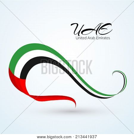 National Flag Of The United Arab Emirates (uae) Ribbon Of Colors Of The Flag With The Text Of The Ua