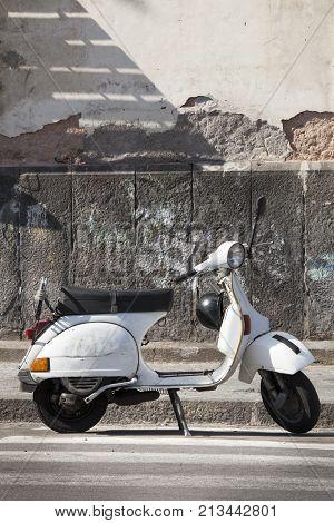 CATANIA, ITALY. April 3, 2015: Old Italian white motorcycle