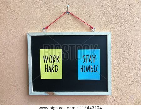 Stay Humble word on sticky note
