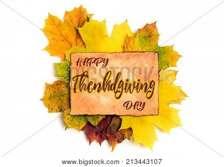 Happy Thanksgiving sticker, tag on maple leaves