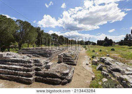 Altar of Ierone II. Syracuse, Sicily. Italy. The altar of Ierone II is a great monumental work in the old quarter of Neapolis in Syracuse, Sicily. Italy