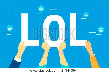 Lol letters concept vector illustration of laughing out loud in social networks, smiling and publishing funny images for likes and reposts. Flat human hands hold lol letters on blue background