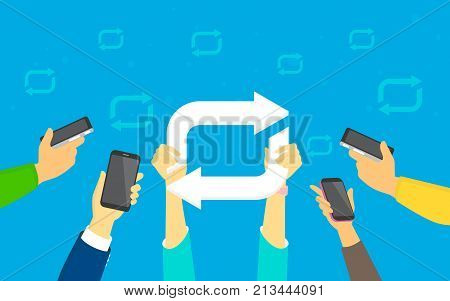 Repost concept vector illustration of young men and women using smartphones happy to reposting meme and publishing new trends in social network. Flat human hands hold hashtag sign on blue background