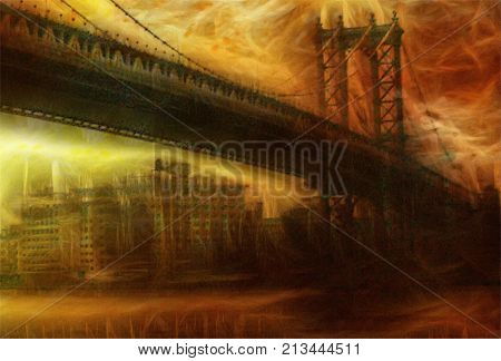 Manhattan Bridge. Painterly Landscape.