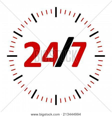 Round-the-clock on white background represents 24/7 service three-dimensional rendering 3D illustration