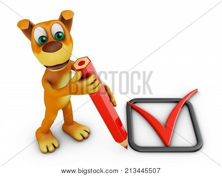 A dog with a red pencil and check mark. 3d rendering.