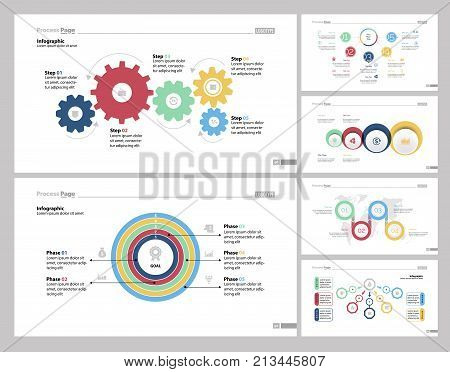 Infographic design set can be used for workflow layout, diagram, report, presentation, web design. Business and workflow concept with process, step, doughnut, comparison, flow and venn charts.