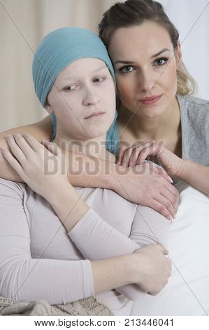 Sad Girl With Breast Cancer