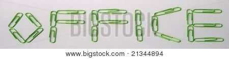 Green paperclip office