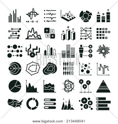 Diagram and infographic vector icons. Business data chart and graph symbols. Illustration of graph and data, diagram and chart information