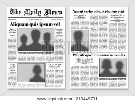 Paper tabloid newspaper vector layout. Editorial news template. Editorial news newspaper, paper tabloid page illustration