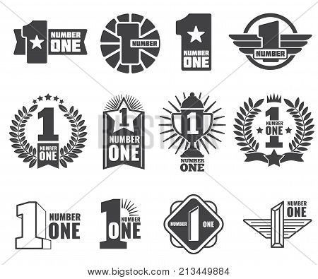 Number one vector logos set. Number 1 label, first logotype banner illustration