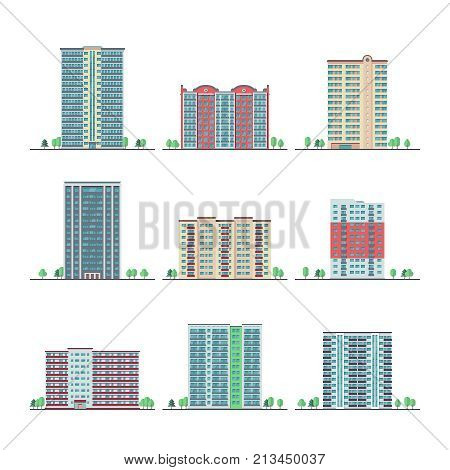 Modern city apartment buildings flat vector set. Building skyscraper apartment, urban home residential illustration