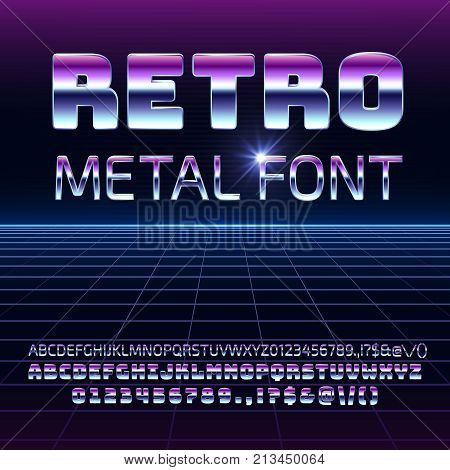 Retro space metal vector font. Metallica futuristic chrome letters and numbers in 80s vintage style. Futuristic vintage alphabet, typeface 80s typography illustration