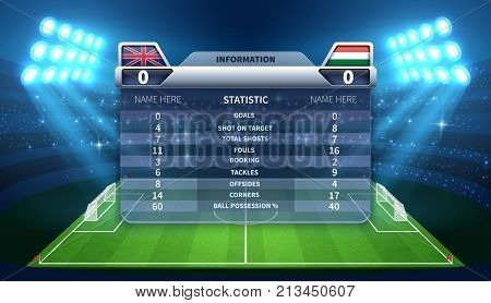Soccer scoreboard and football stadium vector mockup. Soccer stadium and scoreboard with information game illustration