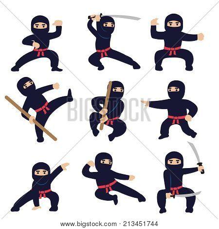 Cartoon funny warriors. Ninja or samurai vector characters. Ninja warrior samurai in mask with weapon sword illustration