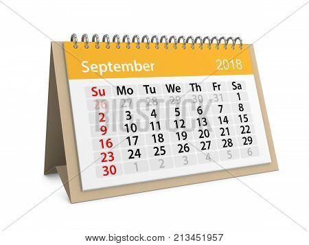 Monthly table calendar for September 2018. 3d illustration
