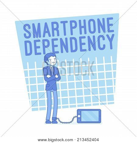 Smartphone dependency. Young man in mobile phone addiction, gadget linked anxiety and stress disorder symptoms, fight back fear. Vector lineart concept illustration
