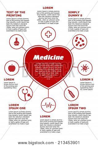 Vertical template, medical poster. Red Infographic on white background, heart with 8 icons and description. For printing A4 format. Heart pills medical cross, bacteria, thermometer, virus.