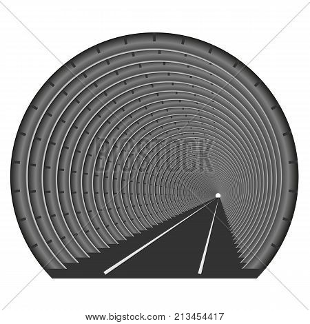 A subway tunnel or car underground. The construction of tubing. Light at the end of the tunnel. Exit or entry somewhere