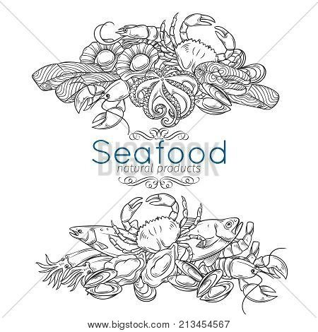 Vector banners template hand drawn seafood design with mussel, fish salmon, shrimp. Lobster, squid, octopus, scallop, lobster, craps or mollusk, oyster, alfonsino and tuna for product market.