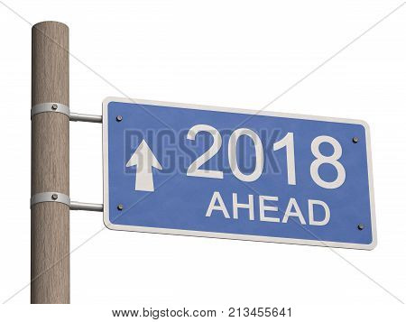 Happy New Year 2018. Greeting card. 3d illustration