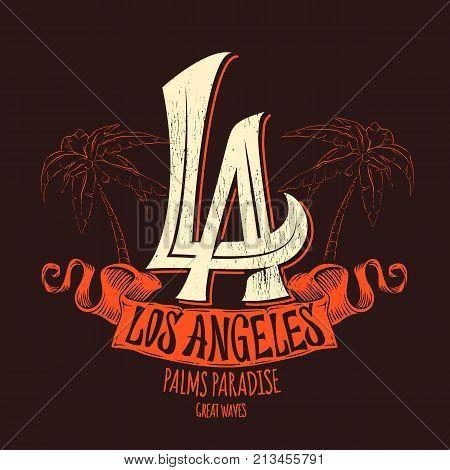 Los Angeles t-shirt print design. Vector illustration
