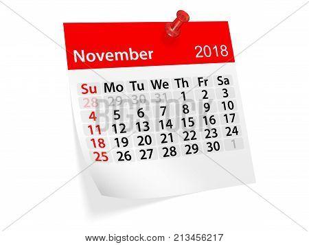 Monthly pinned note calendar for November 2018. 3d illustration