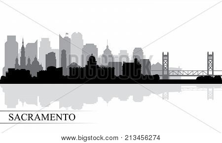 Sacramento City Skyline Silhouette Background