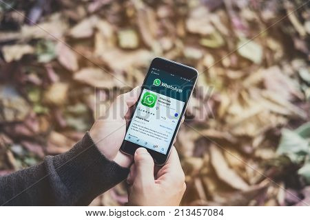 CHIANG MAI THAILAND - NOV 10 2017 : Young female holding a iPhone 6s with social Internet service WhatsApp on the screen. iPhone 6s was created and developed by the Apple inc.